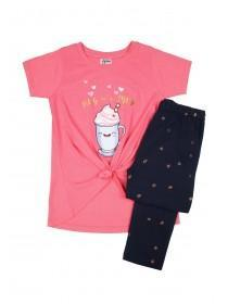 Older Girls Pink Slogan Pyjama Set