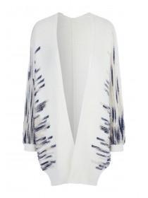 Womens Cream Stripe Oversized Cardigan