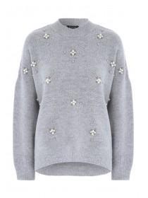 Womens Grey Embellished Jumper