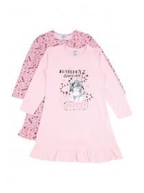 Girls 2pk Pink Long Sleeve Nightdresses