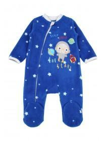 Baby Boys Blue Space Fleece Sleepsuit
