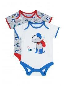 Baby Boys 2pk Blue Dog Bodysuits