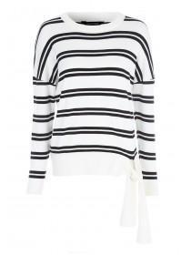 Womens Monochrome Stripe Tie Front Jumper
