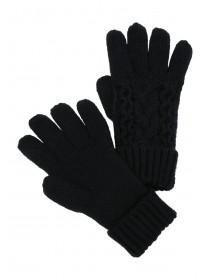 Womens Black Cable Gloves