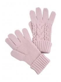 Womens Pink Cable Gloves