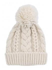 Womens Cream Cable Knit Beanie Hat