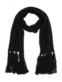 Womens Black Cable Knit Scarf