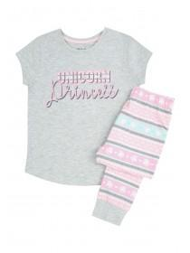 Younger Girls Grey Unicorn Pyjama Set