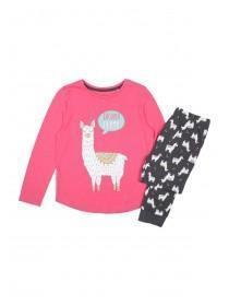 Younger Girls Pink Drama Llama Pyjama Set
