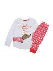 Older Girls Grey Sausage Dog Pyjama Set