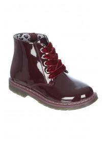 Younger Girls Burgundy Patent Boots