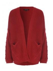 Womens Rust Cable Knit Cardigan