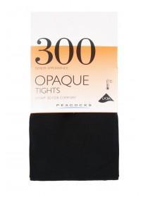Womens 1pk Black 300 Denier Opaque Tights