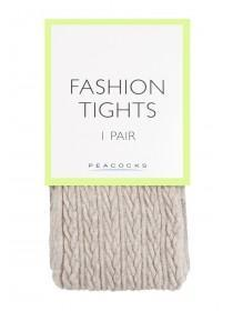 Womens 1pk Cream Cable Knit Tights