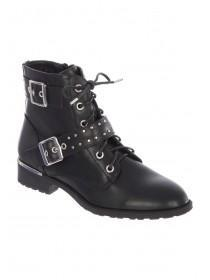 Womens Black Lace Up Buckle Ankle Boots