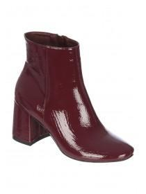 Womens Berry Red Block Heel Ankle Boots