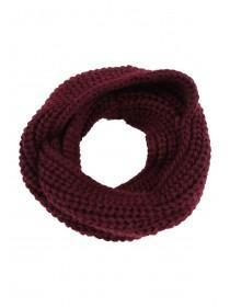 Womens Burgundy Chunky Knit Snood Scarf