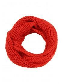 Womens Red Chunky Knit Snood Scarf