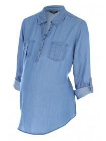 Maternity Blue Tencel Shirt