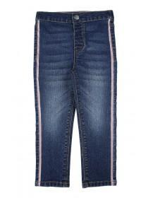 Younger Girls Blue Glitter Stripe Jeans