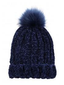Womens Navy Chenille Pom Beanie Hat