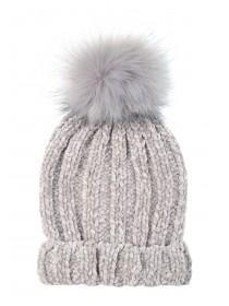Womens Grey Chenille Pom Beanie Hat