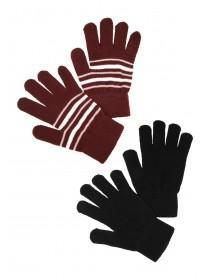 Womens 2pk Black and Burgundy Gloves