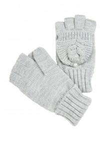 Womens Grey Flip Top Cable Knit Gloves