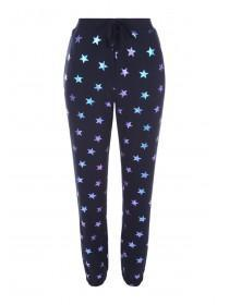 Womens Navy Star Soft Touch Pyjama Bottoms