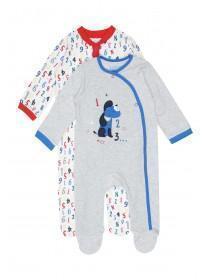 Baby Girls 2pk Grey Number Sleepsuits