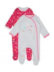 Baby Girls 2pk Pink Bird Sleepsuits