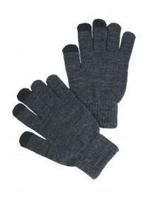 Mens Grey Touchscreen Gloves