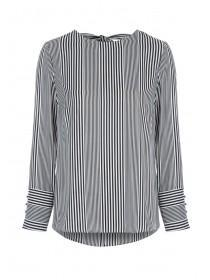 Womens Monochrome Stripe Split Sleeve Top