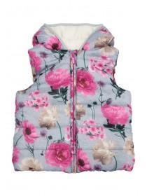 Younger Girls Grey Floral Gilet Jacket