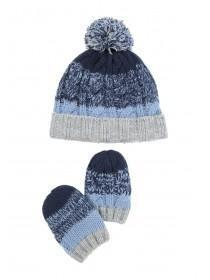 Baby Boys Bobble Hat And Mitten Set