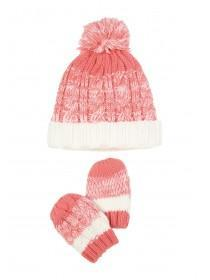 Baby Girls 2pc Pink Hat and Mittens Set