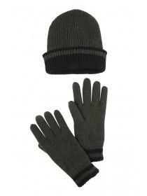 Mens Khaki Thinsulate Hat and Glove Set
