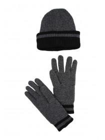 Mens Grey Thinsulate Hat and Glove Set