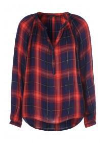 Womens Red Check Smock Top