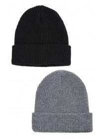Mens 2pk Ribbed Beanie Hats