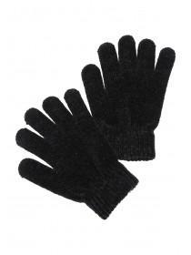 Womens Black Chenille Gloves