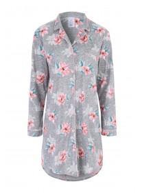 Womens Grey Floral Boyfriend Nightdress