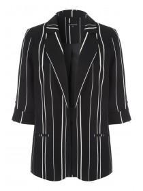 Womens Monochrome Stripe Cuff Detail Blazer
