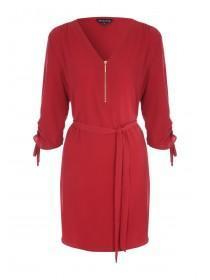 Womens Rust Zip Front Tunic Dress