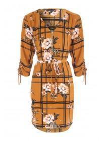Womens Mustard Floral Tunic Dress
