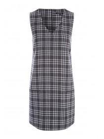 Womens Grey Check Sleeveless Shift Dress