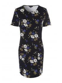 Womens Black Floral Shift Dress
