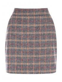 Womens Mustard Check Brushed Skirt