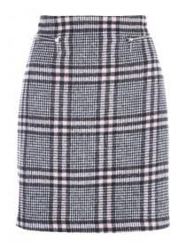 Womens Pink Check Brushed Skirt
