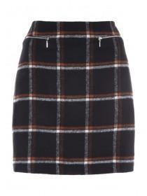 Womens Rust Check Brushed Skirt